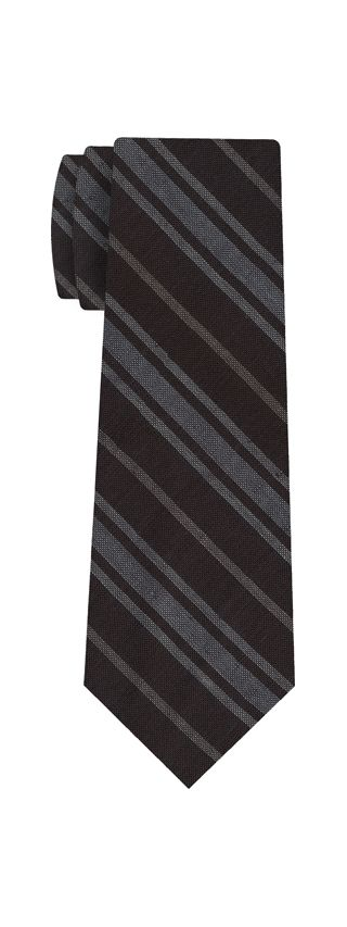 Off-White & White on Dark Chocolate Striped Linen/Cotton Silk Tie #3