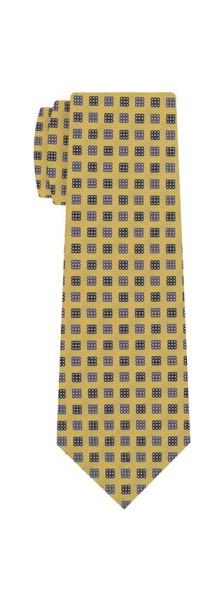 Sky Blue & Navy Blue on Soft Gold Macclesfield Print Silk Ties #MCT-300