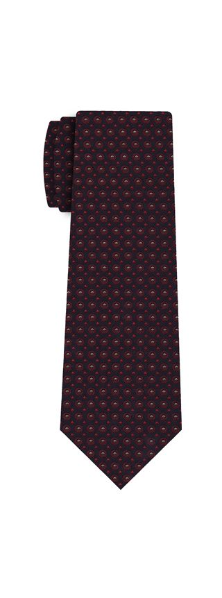 Dark Red / Silver Brown & Red On Midnight Blue Cashmere/Silk Jacquard Tie #1
