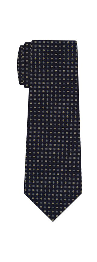 Sky Blue, Yellow Gold & White on Midnight Blue Macclesfield Print Silk Ties #MCT-298