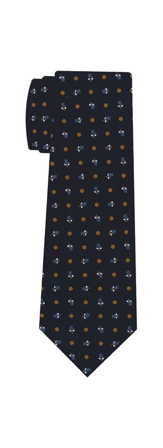 Sky Blue, Burnt Orange & White on Dark Navy Blue Macclesfield Print Silk Tie #256