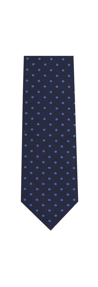 Sky Blue on Dark Navy Blue Macclesfield Printed Silk Tie #MCDT-21