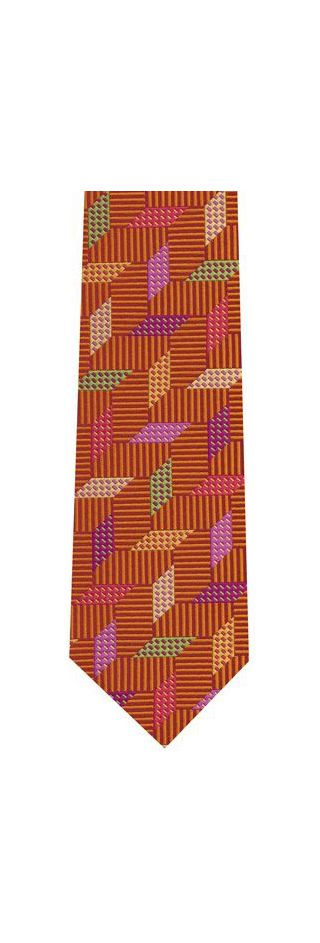 Green / Yellow / Pink & Violet on RustEnglish Geometric Silk Tie #15