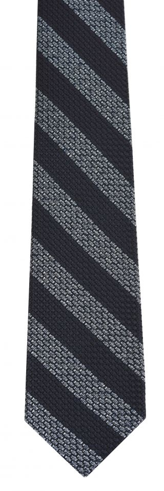 Silver Powder Blue & Midnight Blue Grenadine Grossa Wide Stripe Silk Tie #GGBST-1