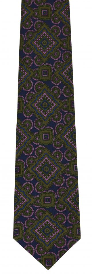 Olive Green, Light Lavender, Young Leaf Green on Dark Navy Print Pattern Silk Tie #MCT-546